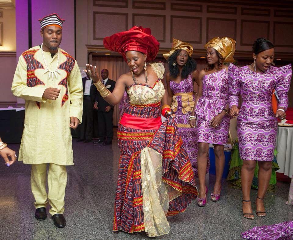 Dancing cameroonian bride and her groom african wedding