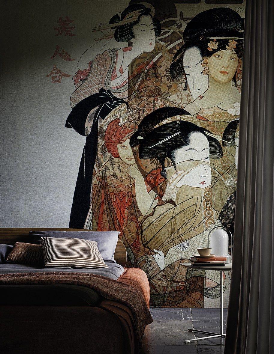 Home interior tapeten design tapete nouveau geisha kollektion contemporary wallpaper  by wall