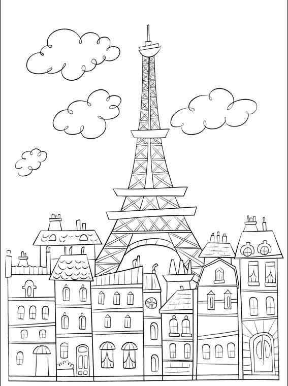 Coloriage A Imprimer Tour Eiffel.Coloriage Paris Et Tour Eiffel Dessin Coloriage Paris