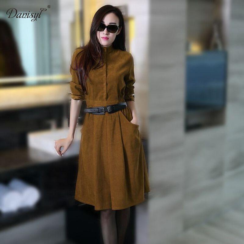 2016 women autumn winter suede slim full sleeve clothing elegnat sheath office lady dresses with sashes free shipping