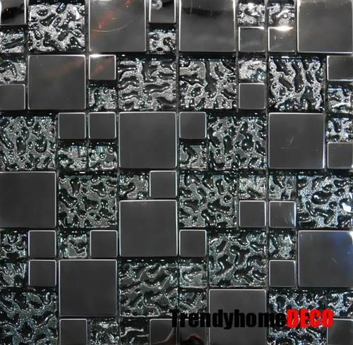 Sample Stainless Steel Pattern Textured Glass Mosaic Tile Kitchen