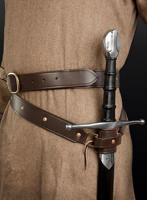 MEDIEVAL RENAISSANCE VIKING PIRATE FANTASY Leather Double Wrap BELT SWORD HOLDER