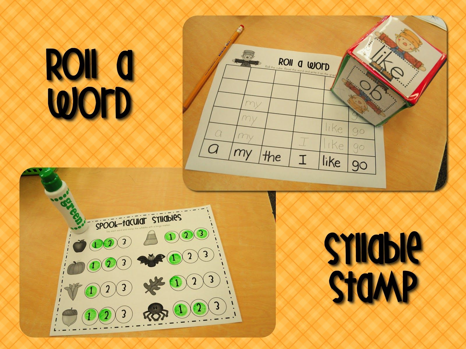 Roll A Word Sight Words Activity Or Make T As Loteria Bingo With Pumking Designs And Seeds As