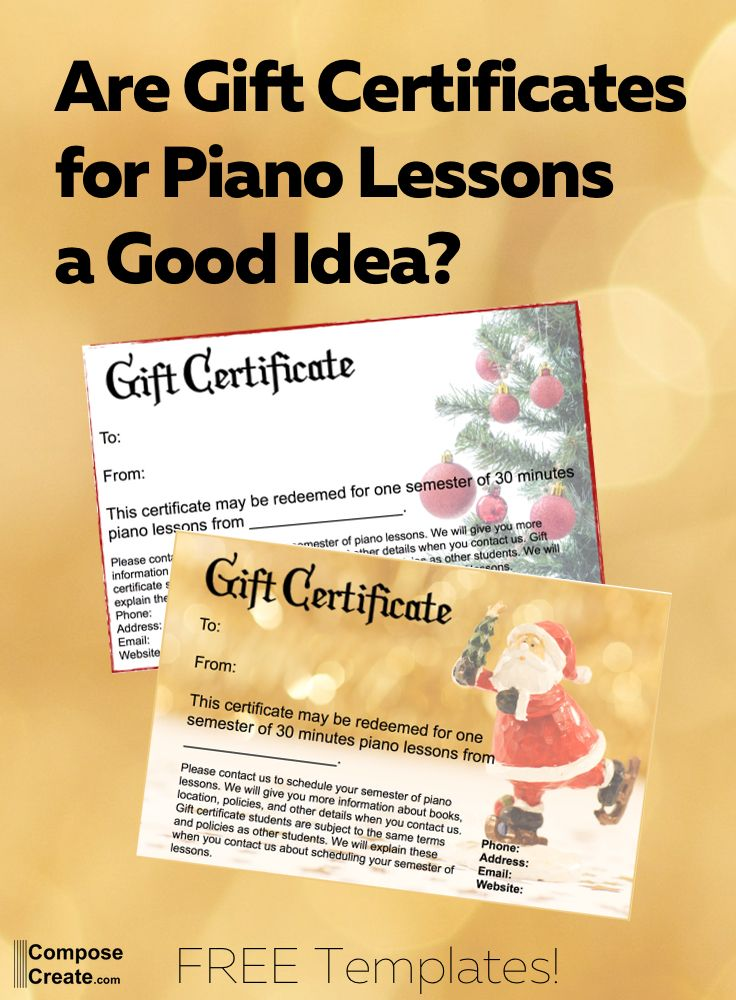 Gift certificates for piano lessons Free download and lots of - gift certificate free templates