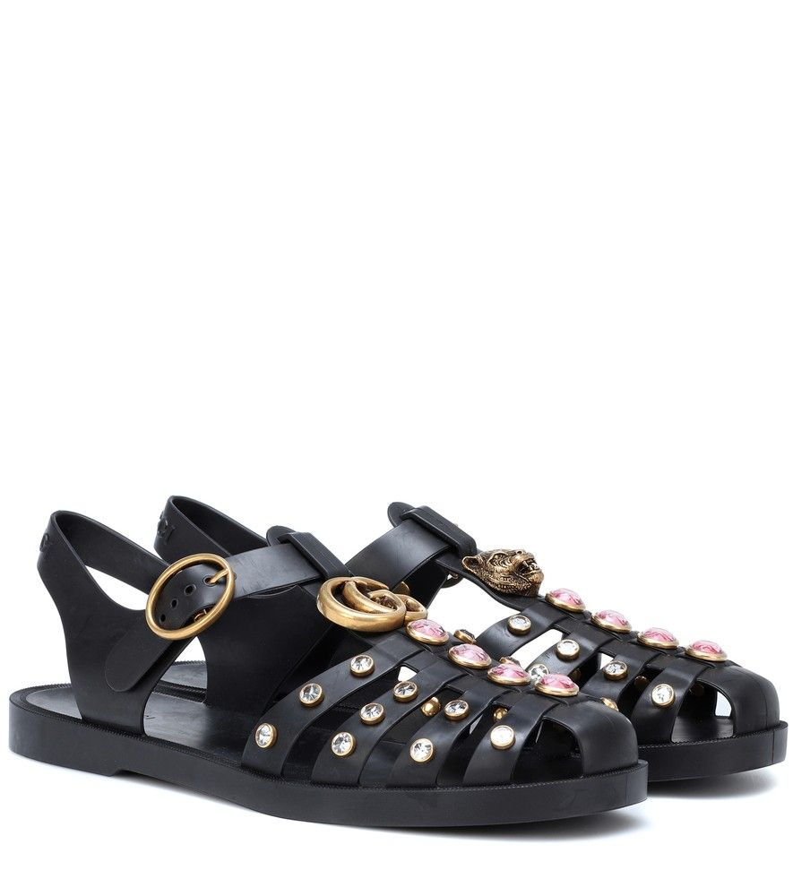 fbe7f5c46e20 Gucci - Embellished sandals - Gucci brings opulent edge to these casual  black rubber sandals inspired