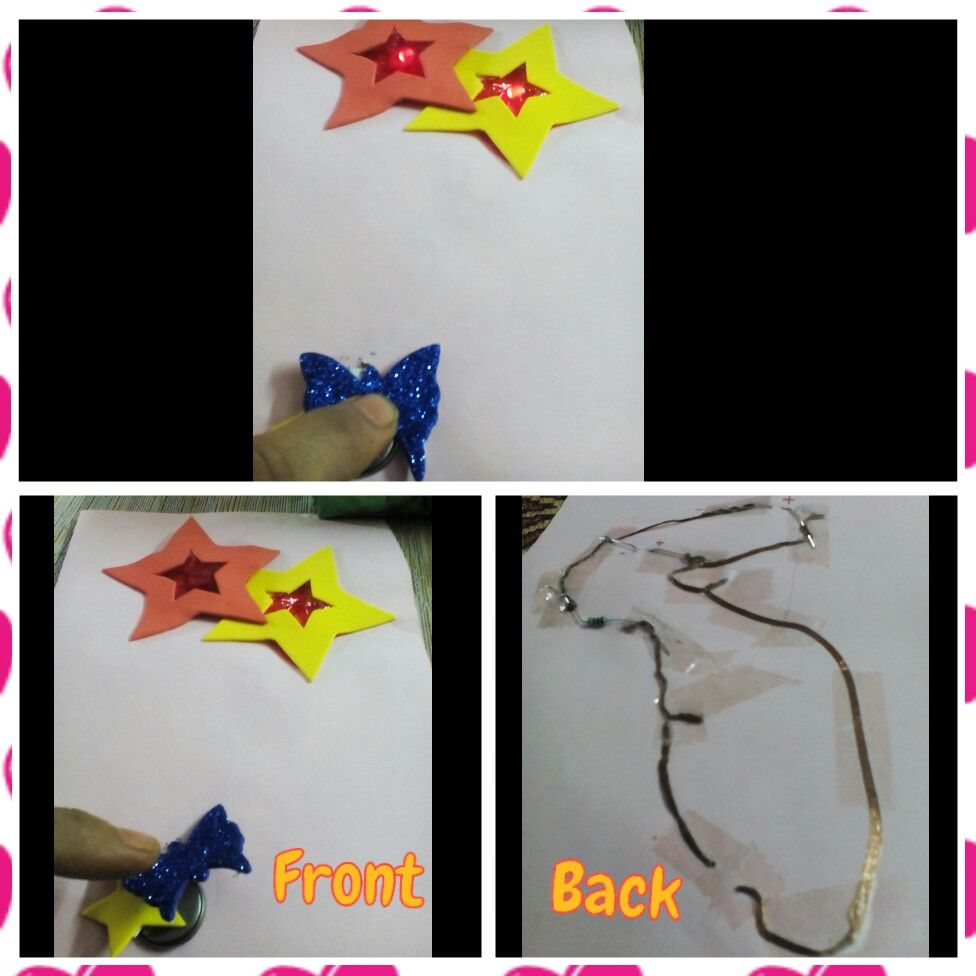 led greeting card front paper switch  paper circuits