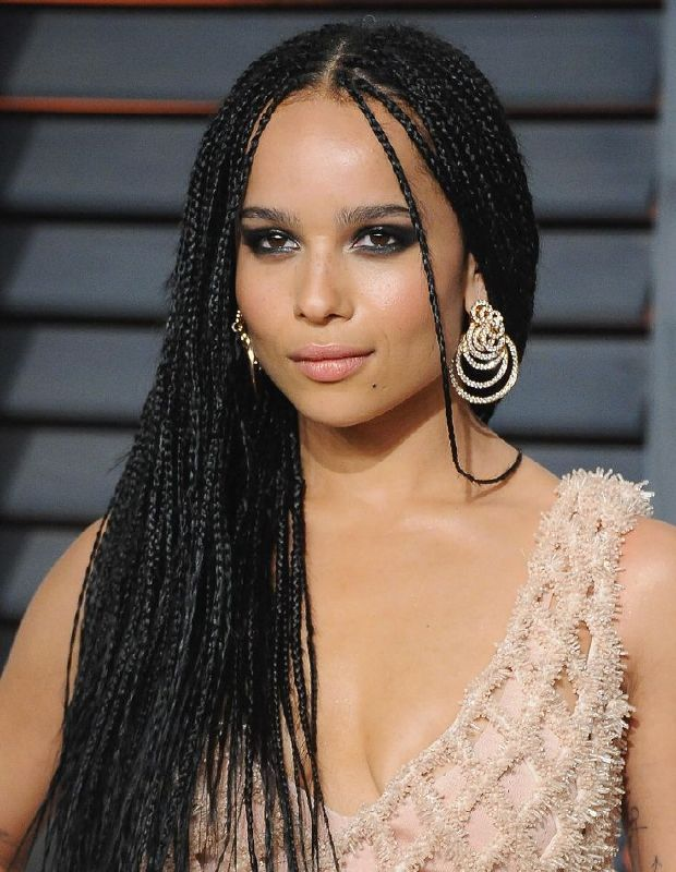 Image Result For Zoe Kravitz Box Braids Loose At The Ends Small Box Braids Hairstyles Micro Braids Hairstyles Braided Hairstyles