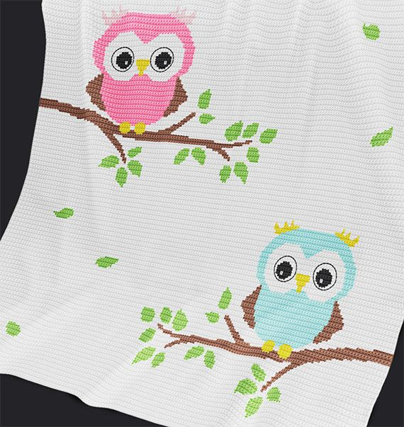 CROCHET Pattern - Baby Blanket Pattern - Two Owls - Crochet Chart ...