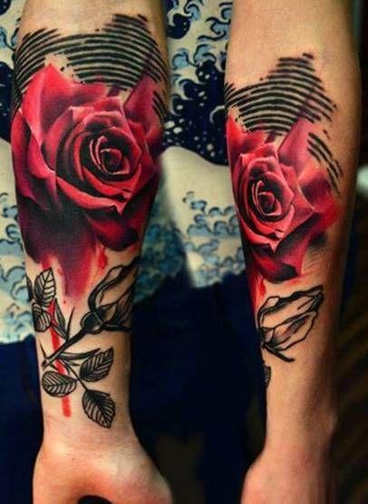 Czerwone Roze Tatuaze Na Rece Red Rose Tattoo Rose Tattoos Red Tattoos