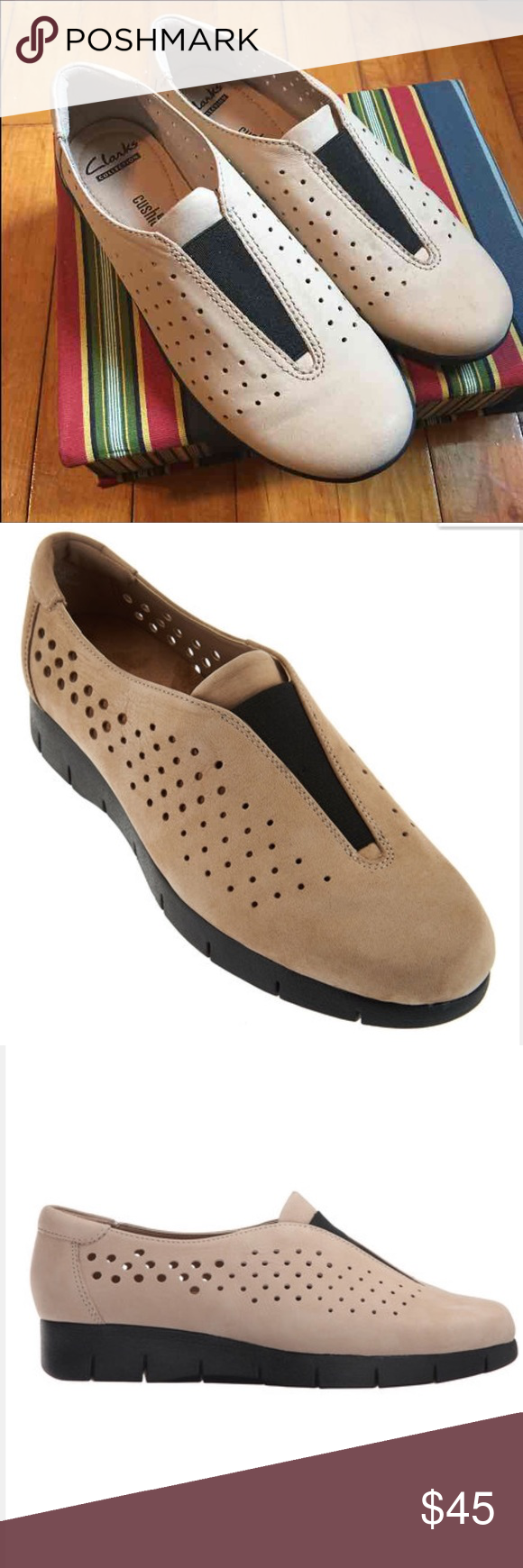 Clarks Sand Daelyn Nubuck Summit Slip-on Equal parts style and comfort, this women's slip-on shoe from the Clarks Collection is modern, streamlined, and easy to wear in perforated microfiber in sand. Soft fabric linings, OrthoLite cushioned footbed, and super lightweight, shock-absorbing EVA outsoles makes it extremely comfortable for fitness walks, errands, or playing with the kids. Clarks Shoes Flats & Loafers