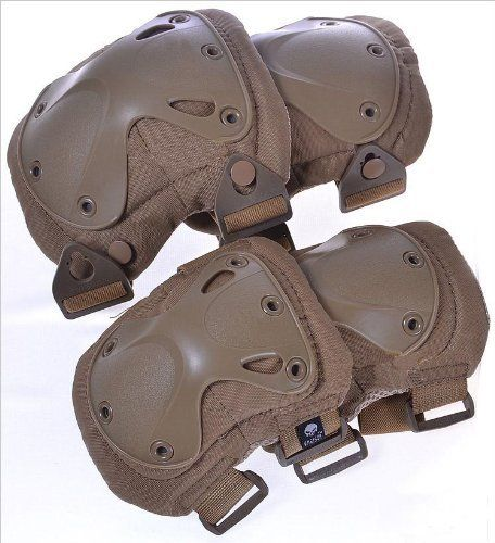 Military Army Tactical Protection Knee Elbow Pad Set Knee Elbow Pads Skate & Skateboarding Knee Pads (Desert Tan) by heitu. $29.99. Order Includes: Military Heavy Duty Knee + Elbow Pads, 2+2 Set Color: 1.Desert Tan   2.Black    3.OD Green     4.Woodland     5.jungle Digital  Material: EVA High Density Foam, Light Weigt TCU (Thermoplastic urethanes) shells, Cordura Nylon, Coolmax inside. Knee pad weight (EA): 4.1oz Elbow pad weight (EA): 3.2oz