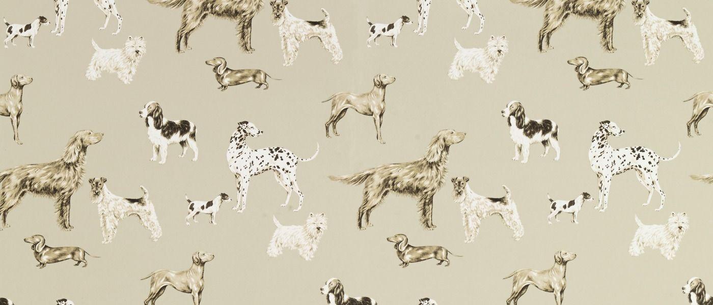 Hunterhill Dog Dark Linen Patterned Wallpaper At Laura Ashley