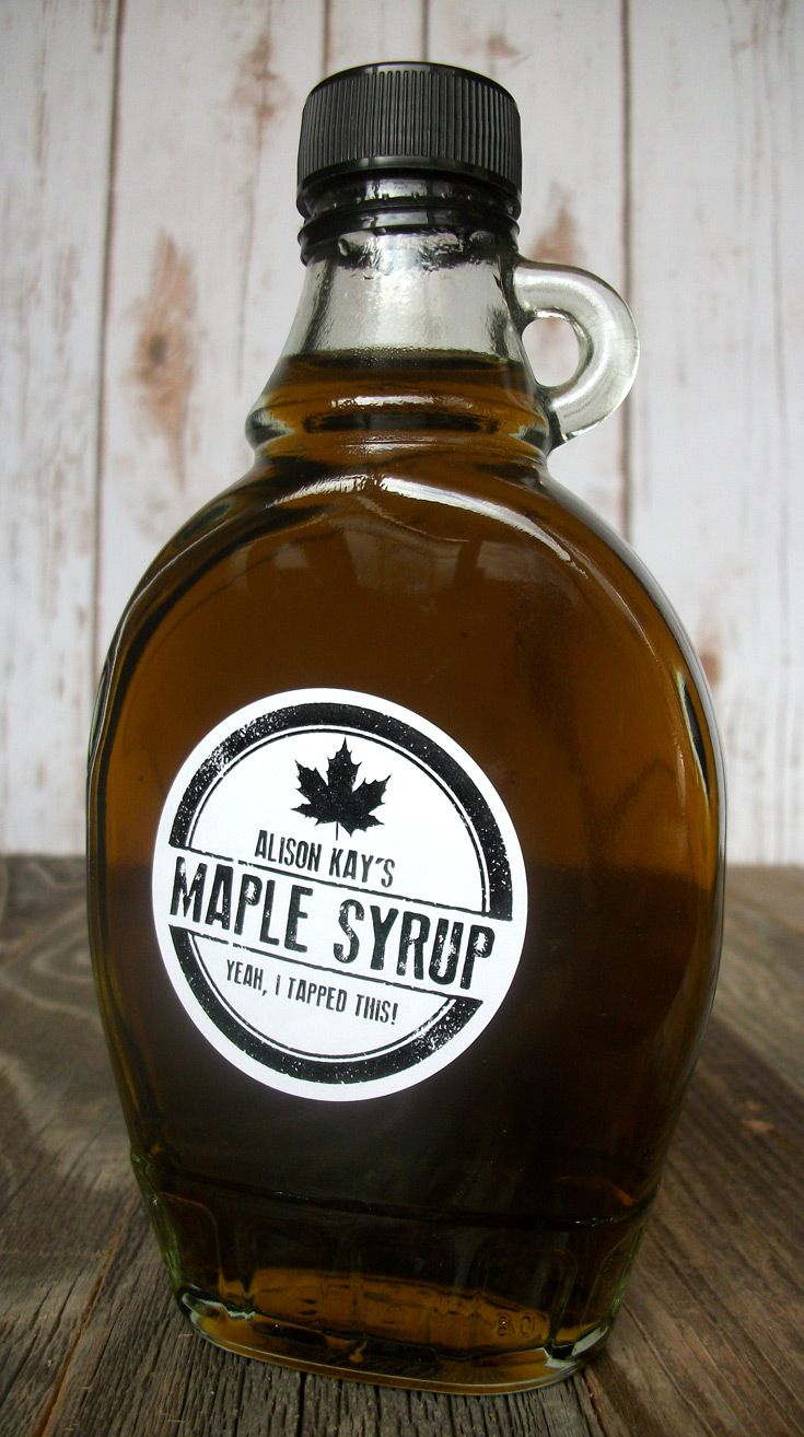 custom rubber stamp maple syrup bottle labels