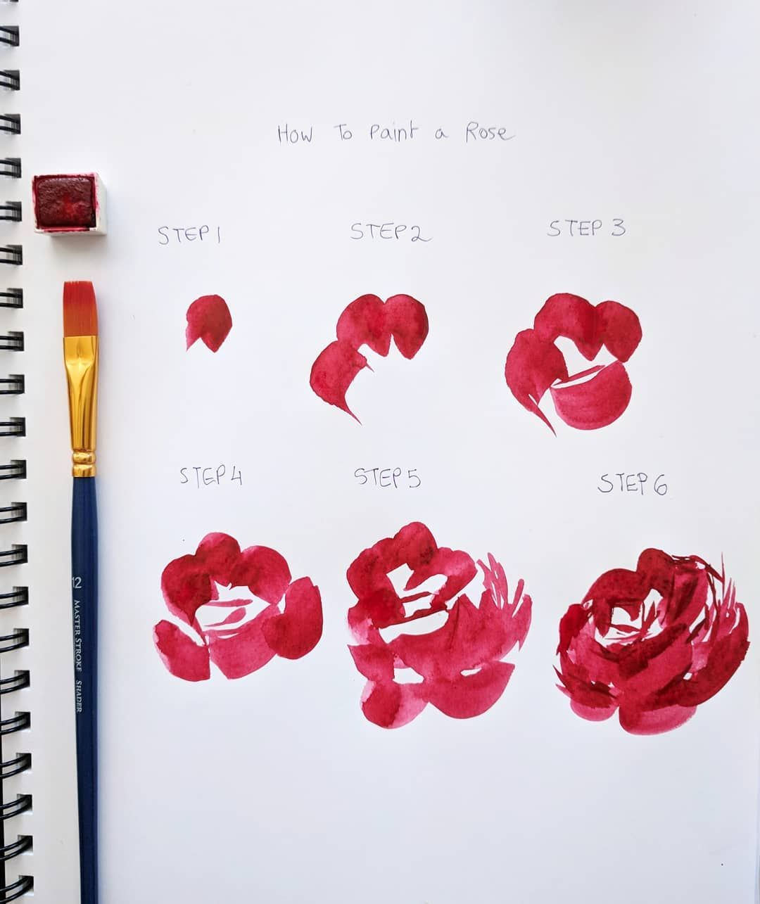 Sharing This Rose Step By Step With You Again Today For Those Who Missed It If You Try This Technique Watercolor Flowers Paintings Roses Drawing Flower Drawing