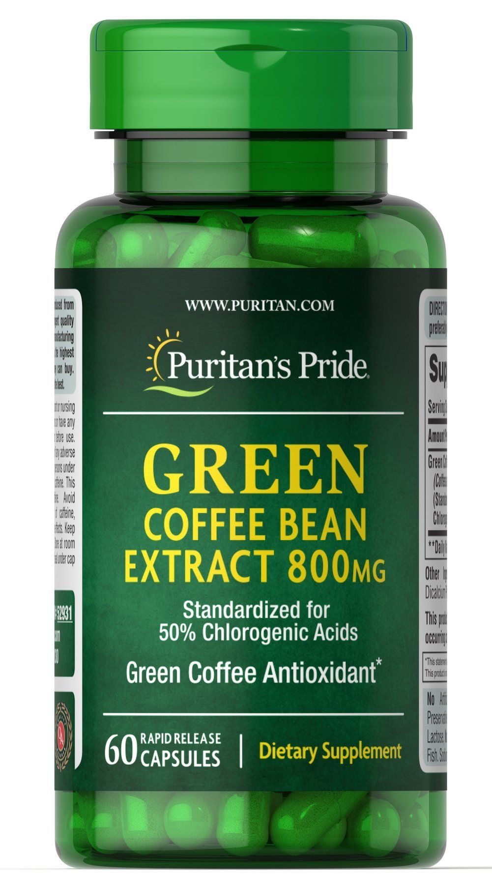 Puritans Pride Green Coffee Bean Extract 800 mg60 Capsules
