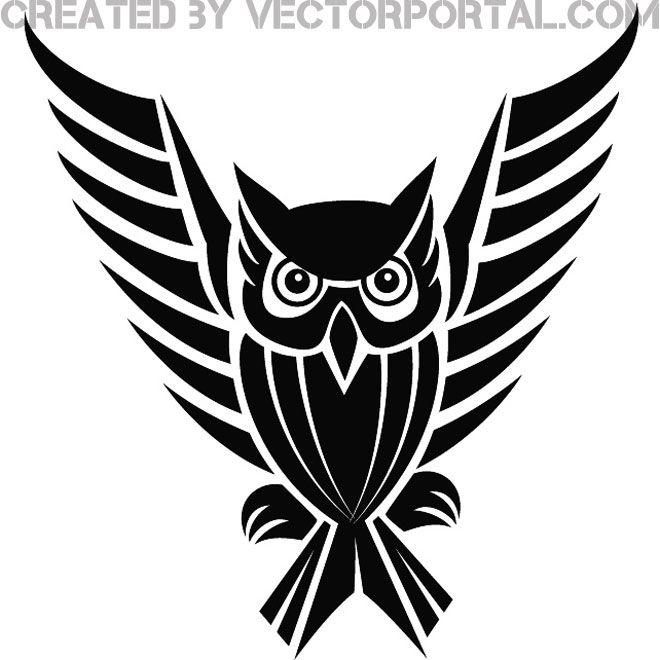 Owl Clip Art Free | Owl clip art, Owl, Tribal tattoos