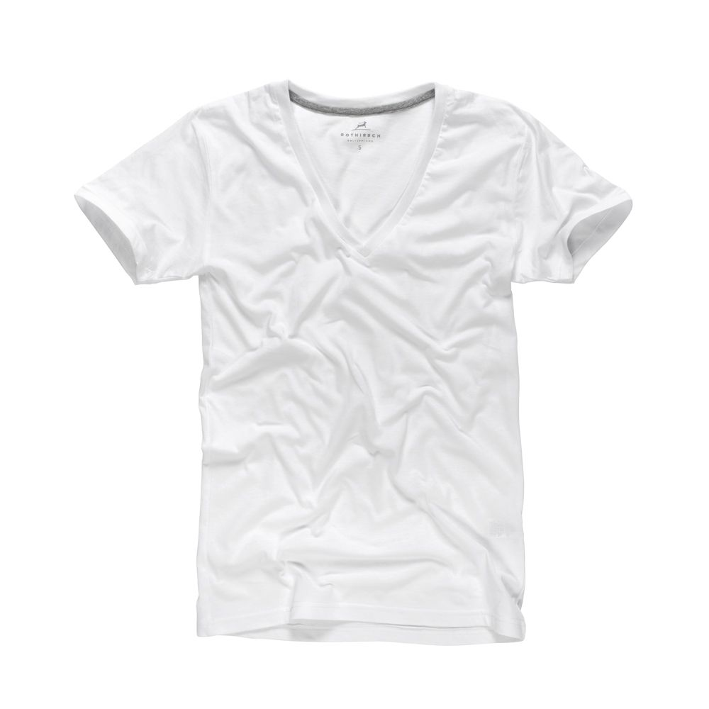 This extralight Everyday Deep V-Neck T-Shirt is made of 100% super-fine cotton (130gr/m2) and has a smooth touch.  The deep v-neck hides the t-shirt perfectly under your shirt. You can also wear it as a casual t-shirt or for sleeping. The slim fit cut suits women and men.  Find additional size information in dropdown menu (Length x Width). Save now: 5 t-shirts for SFr. 110.00 instead of 125.00
