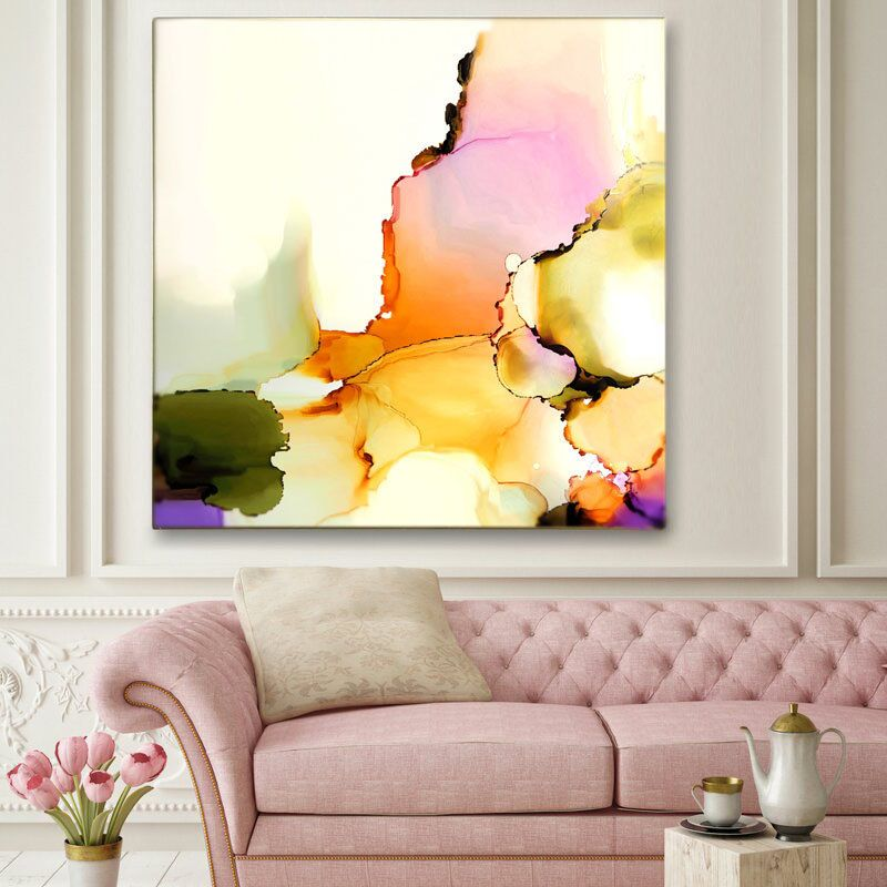 Blush pink abstract floral fine art print pale pastel