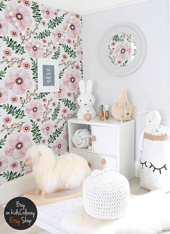 Lovely Flowers Wallpaper Cute Girly Wall Mural For Kids Rooms Etsy Girls Room Wallpaper Kids Room Murals Kids Room Wall Murals