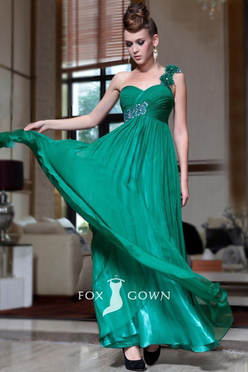 Green flower one shoulder sweetheart empire aline long pleated