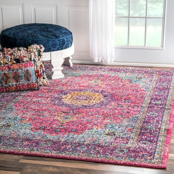 nuLOOM Traditional Persian Vintage Fancy Pink Area Rug (5\' x 7\'5 ...