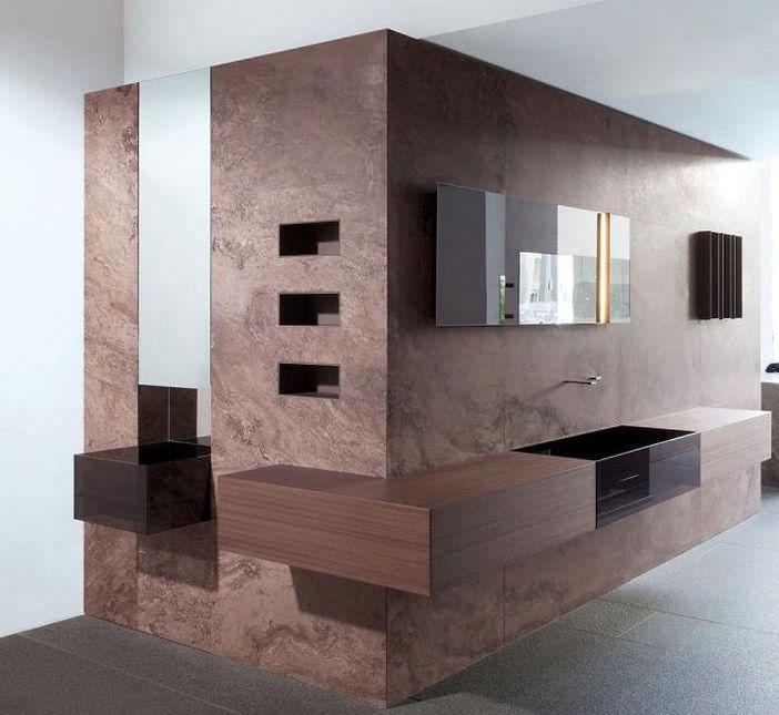 Contemporary bathroom / teak / stone CUMA by Silvano Bonetti minotti ...