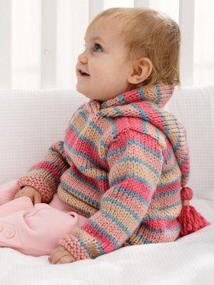 Happy Stripes Baby Hoodie | AllFreeKnitting.com