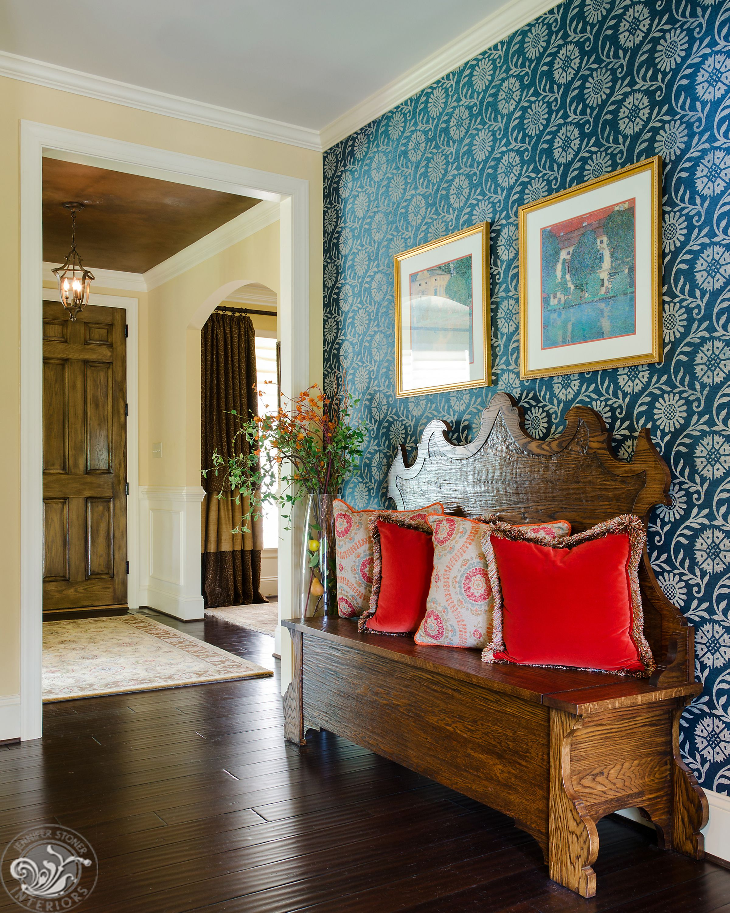 Tuscan Inspired Home With Printed Grass Cloth And Custom Made
