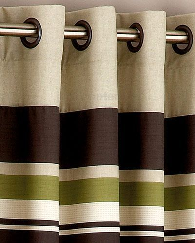 Shower Curtain Olive Green Yale Green Brown Striped Eyelet