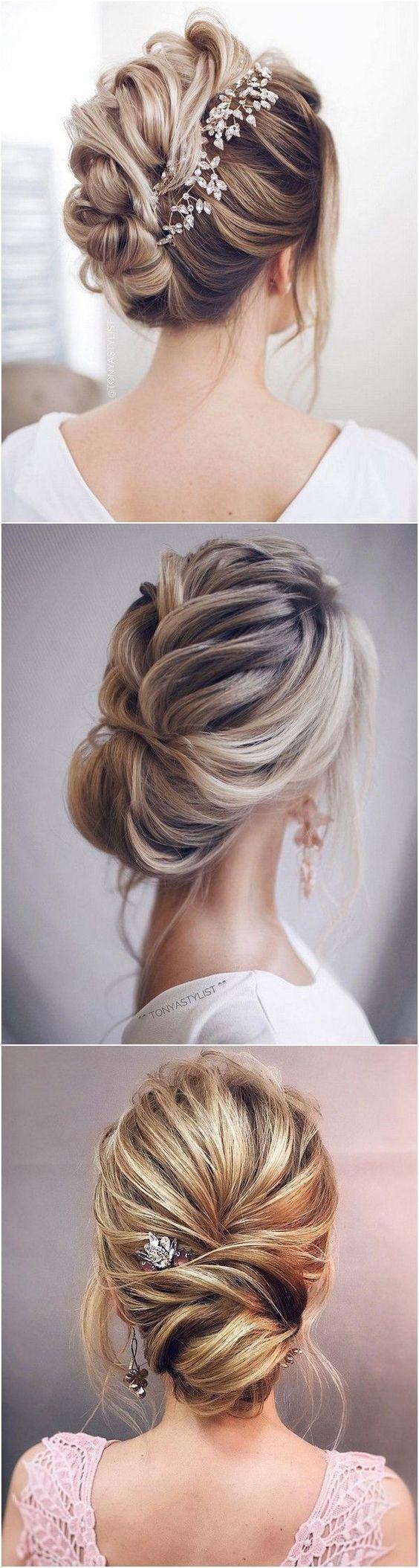 12 So Pretty Updo Wedding Hairstyles from TonyaPushkareva - EmmaLovesWeddings | Elegant updo ...