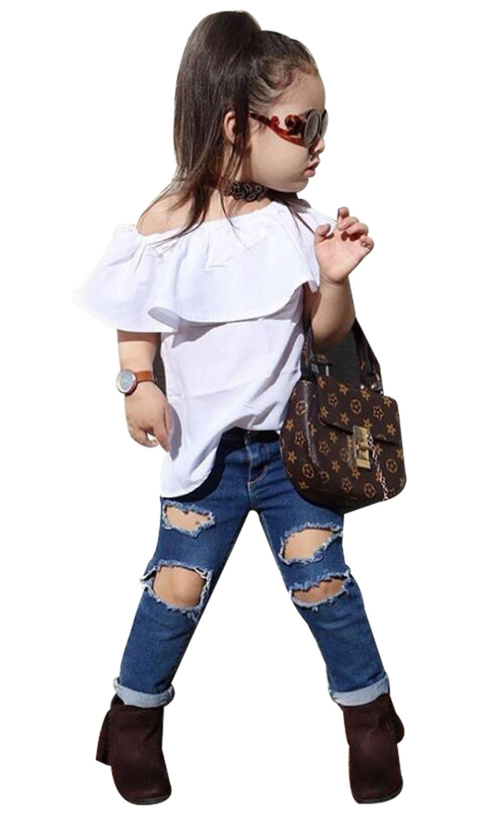 Kids Baby Girl Outfit Off Shoulder Shirt T-shirt Tops+Long Pants Cotton Clothes