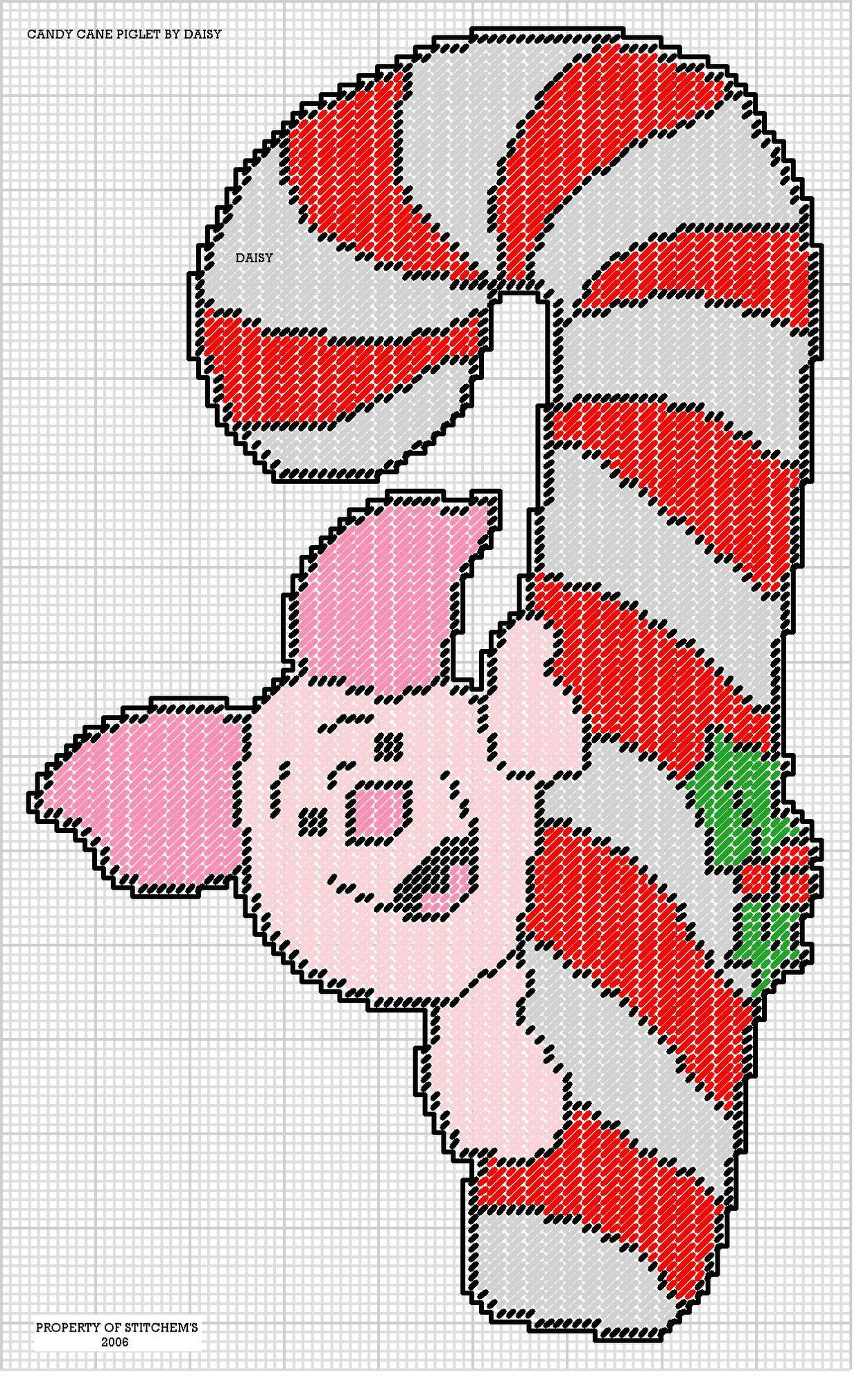Candy Cane Piglet By Daisy Stitchems Wall Hanging 2 2