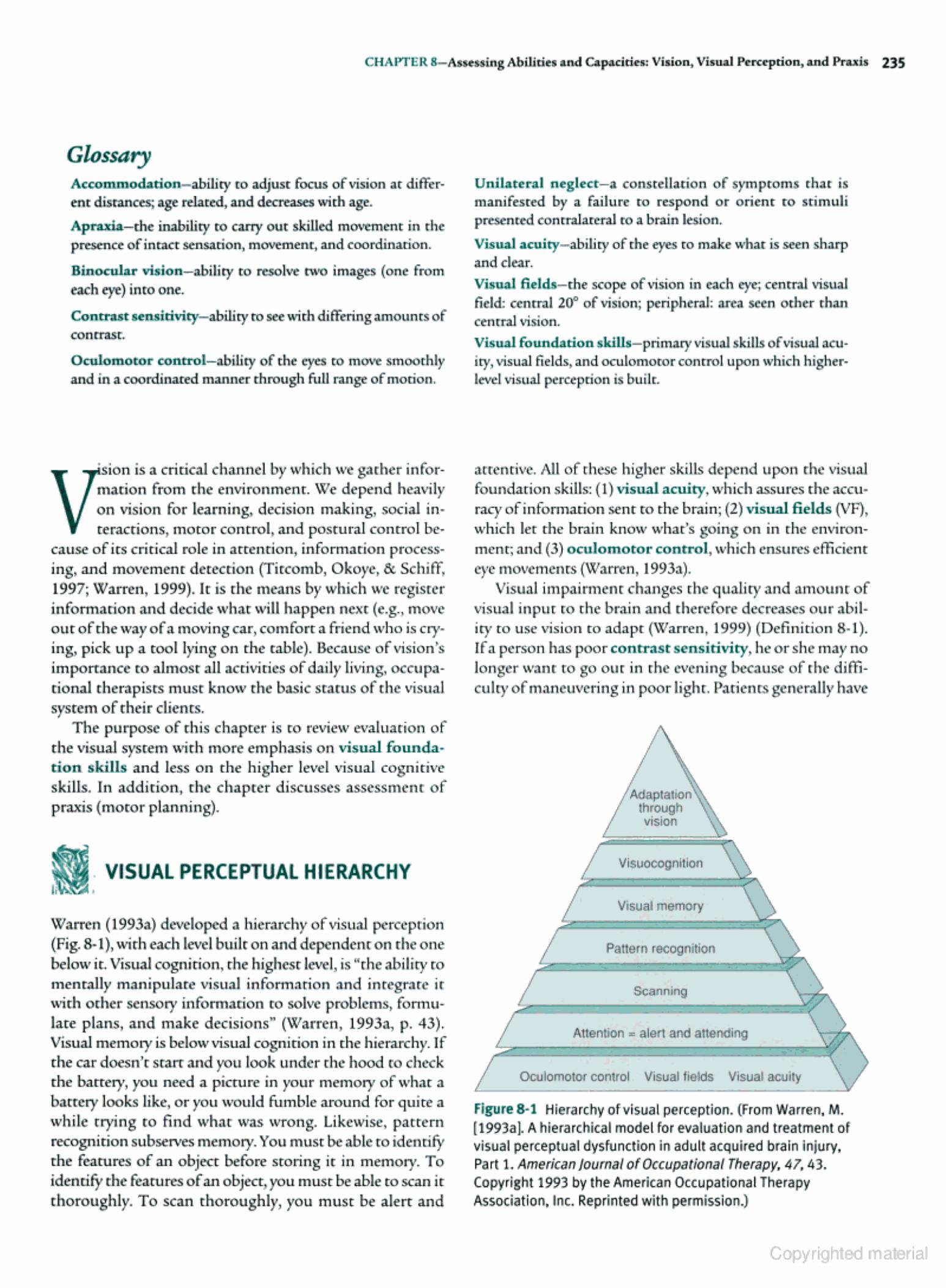 Hierarchy Of Visual Perceptual Skills Need Oculomotor Control Visual Fields And Visual Acuity