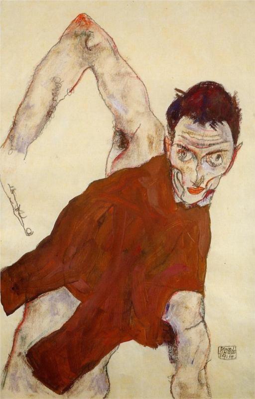 Self portrait in a jerkin with right elbow raised, 1914  Egon Schiele