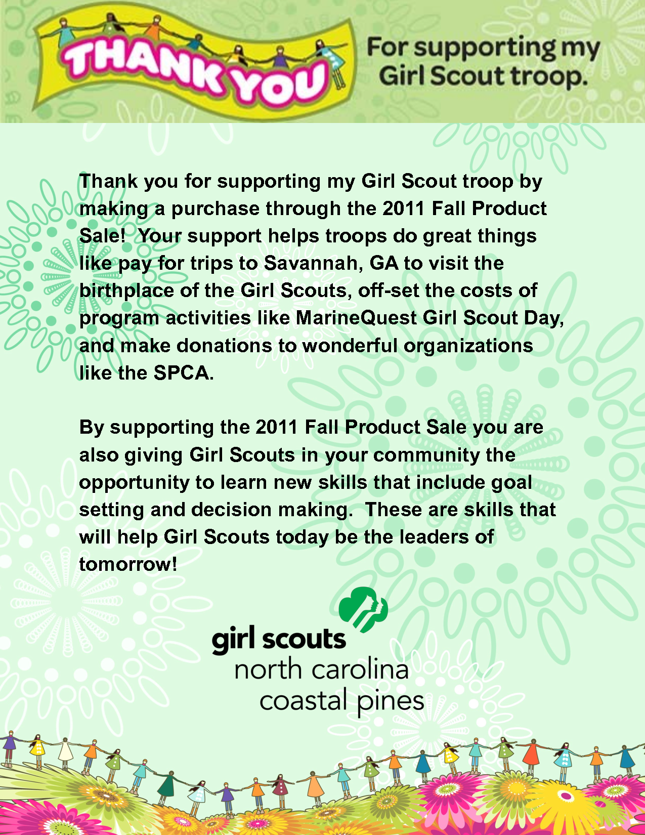 Girl Scout Thank You Letter  Thank You For Supporting My Girl Scout