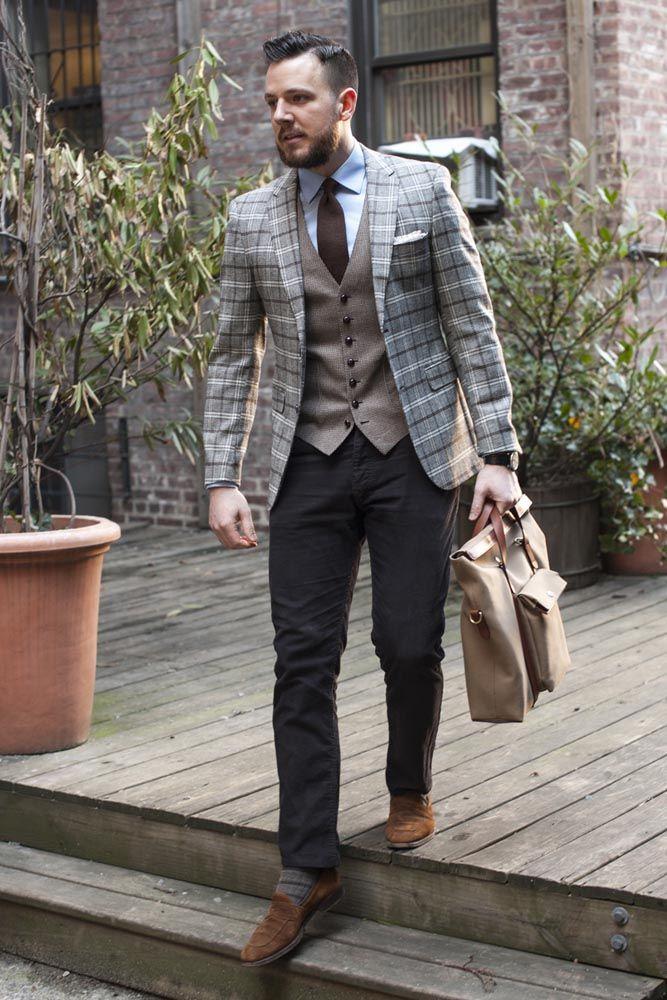Blanket plaid jacket pocket square detail men style