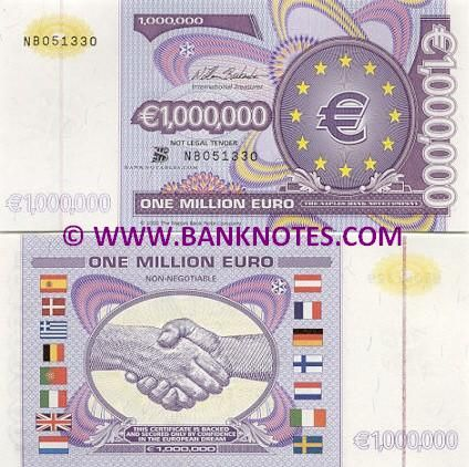 European Union 1 Million Euro 2000 Euro Symbol Inside 12 Stars