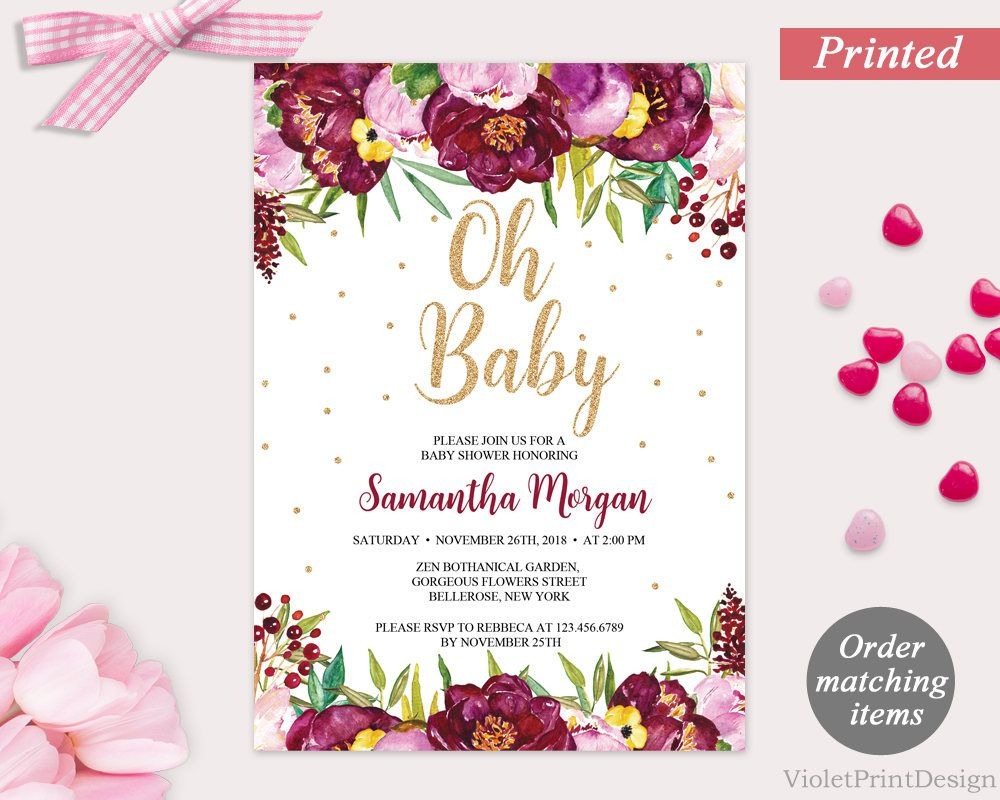Marsala and Pink Flowers Baby Shower Invitation. Printed Floral Baby ...