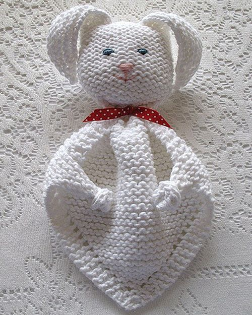 We Like Knitting Bunny Blanket Buddy Free Pattern Brei