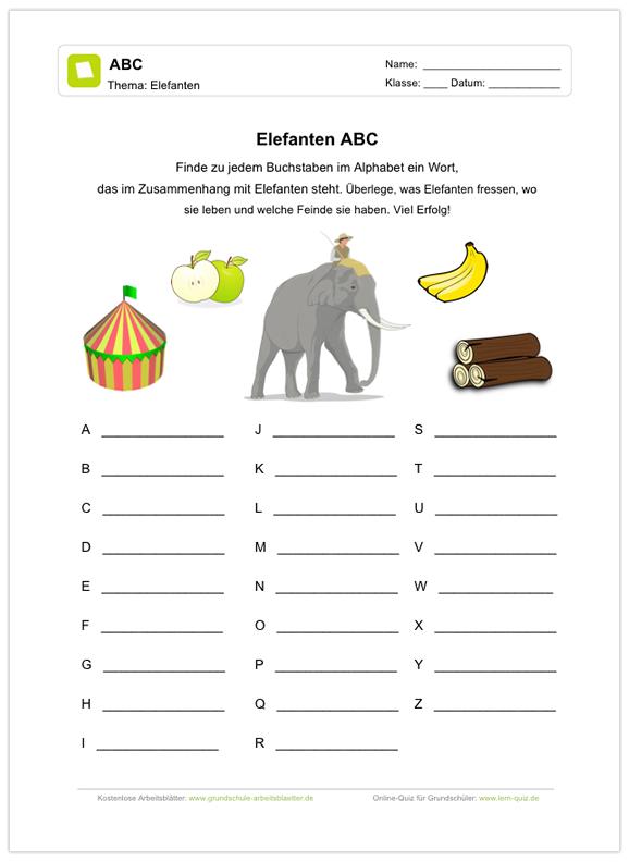Ein kostenloses Arbeitsblatt zum Thema Elenfanten, auf dem die ...