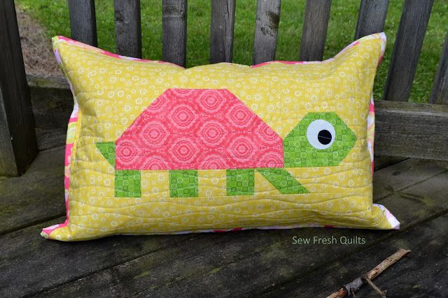 Sew Fresh Quilts: Happy Turtle Zippered Pillow made using a block from my Elephant Parade pattern.