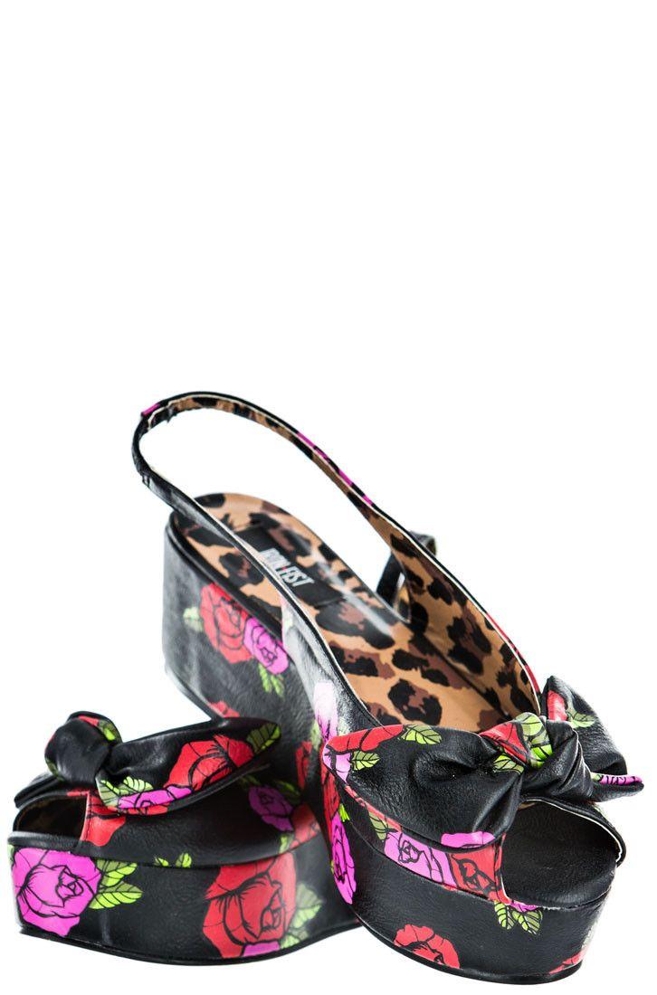Midnight Garden Peeptoe – Iron Fist International Online Fashion Retailer : Footwear - Apparel - Accessories