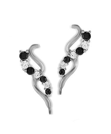 Take a look at this Black Cubic Zirconia & Silver Curve Ear Pin Earrings by Orogem on #zulily today!