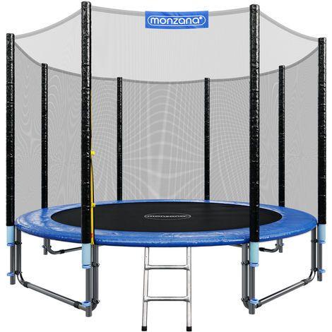 Monzana Trampolín de 305 cm cama elástica negro y azul con red de seguridad y escalera juego deporte exterior jardín – 991476
