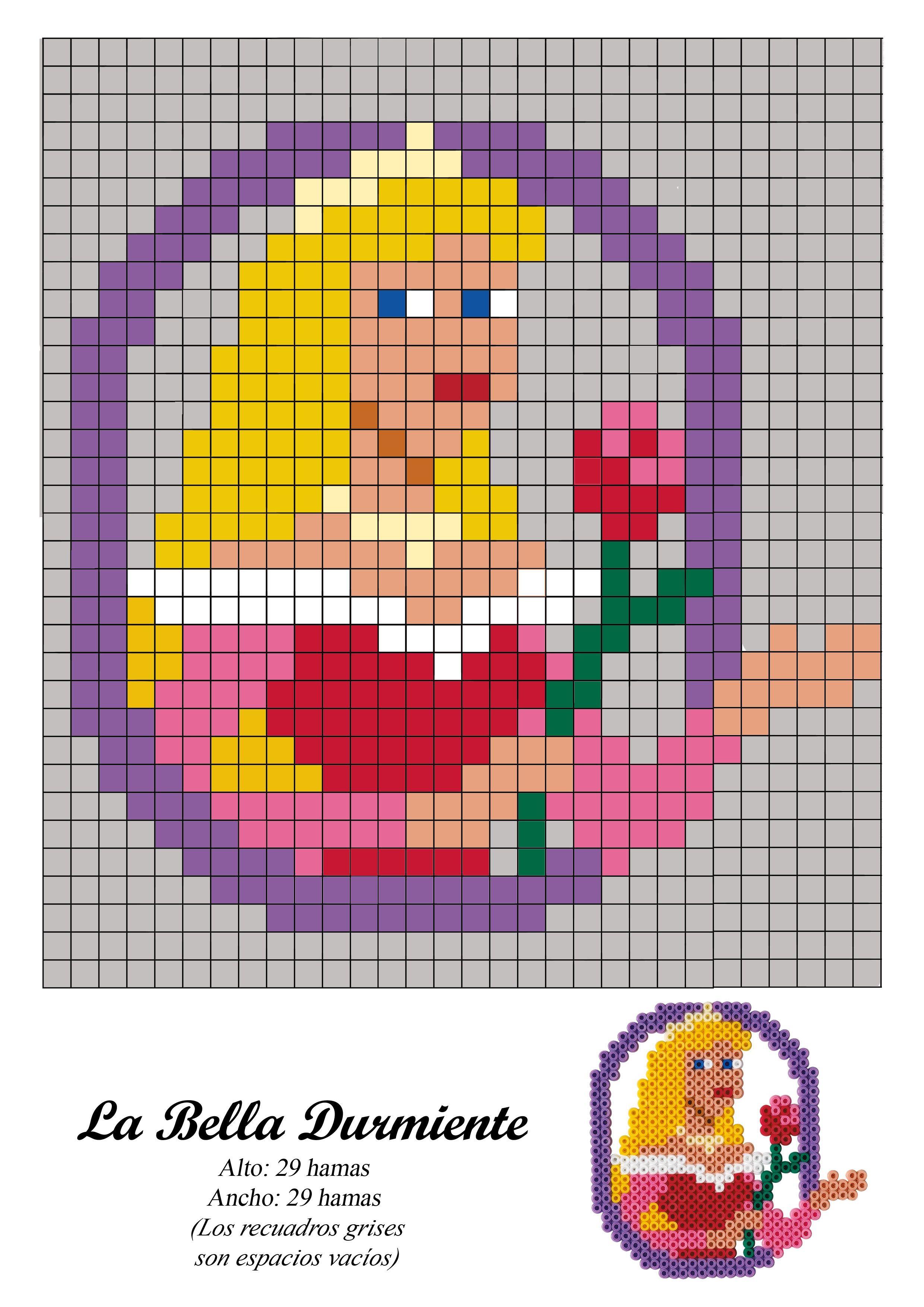 Aurora - Bella Durmiente princesa - Sleeping Beauty princess - hama beads - pattern