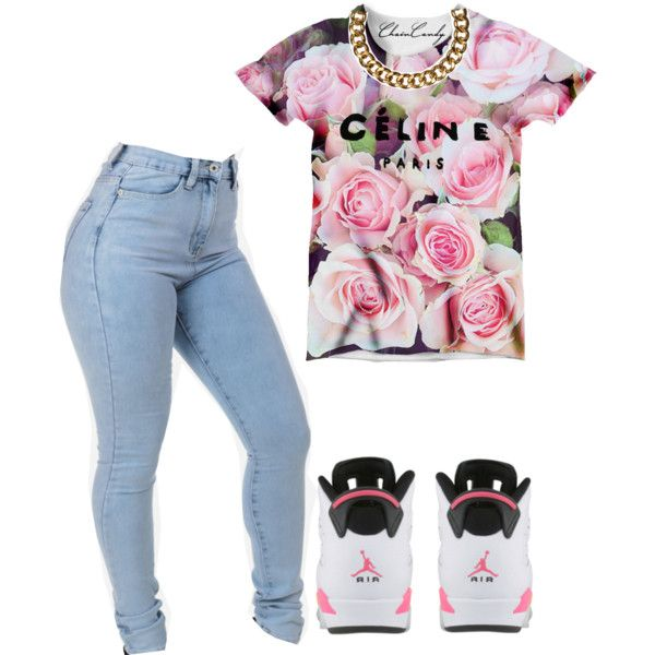 A fashion look from February 2015 featuring floral top, denim jeans and  metal chain necklace · Jordans Shoes ...