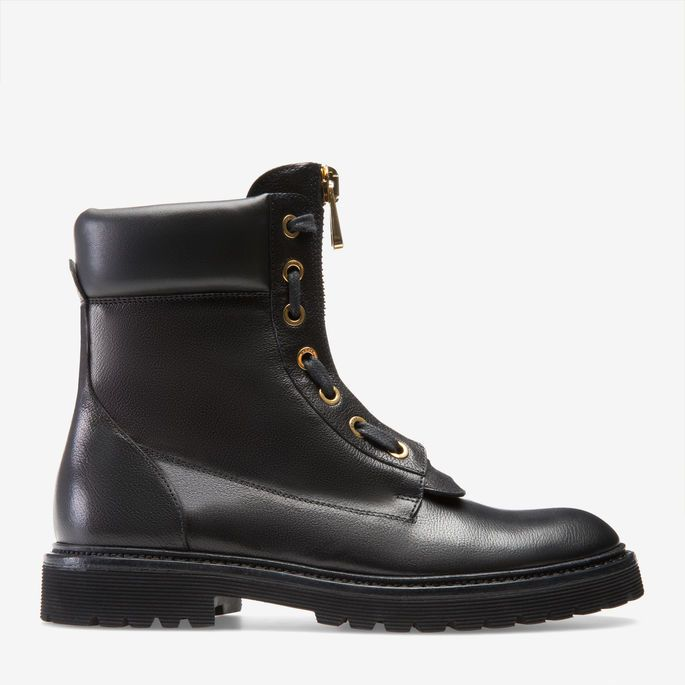 Women's leather combat boot in black