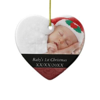 Baby\u0027s 1st Christmas Red Swirl Photo Ceramic Ornament Photo