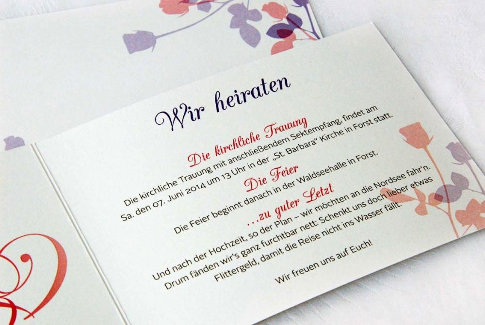 Einladungstext Hochzeit Standesamt Modern / Einladung