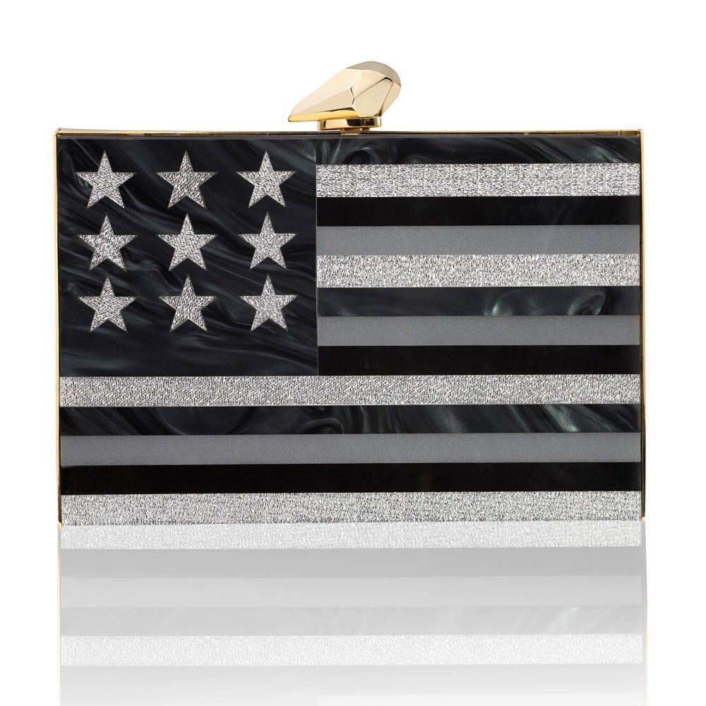 Kotur Clutch Minaudiere Now Shoes Merrick American Flag Oversized Clutchback Side Black And Silver Perspex Spring Accessories Accessories 2015 Accessories